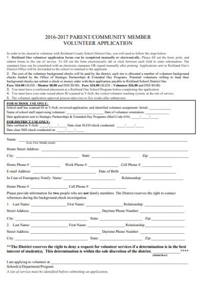 community member volunteer application form