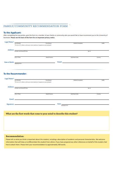 community recommendation form