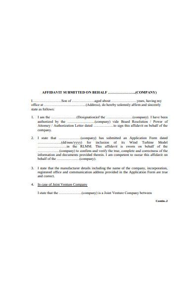company affidavit form