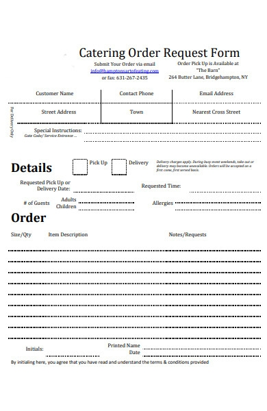 company catering order form
