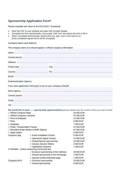 company sponsorship application form