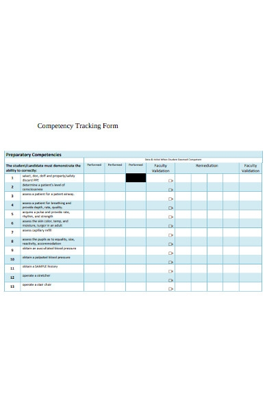competency tracking forms