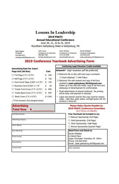 conference advertising form