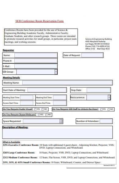 conference room reservation form