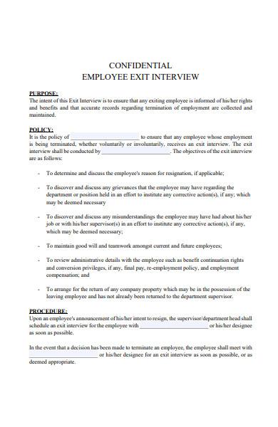 confidential exit interview form