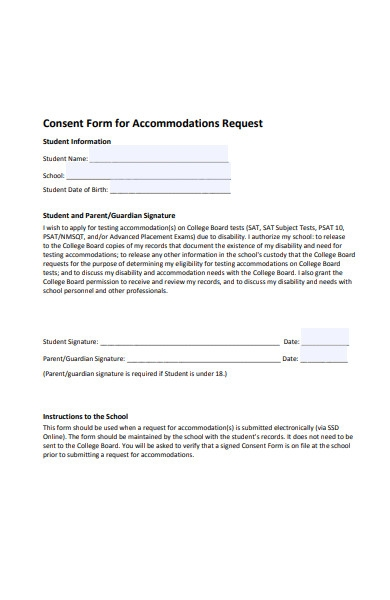 consent form for accommodations request