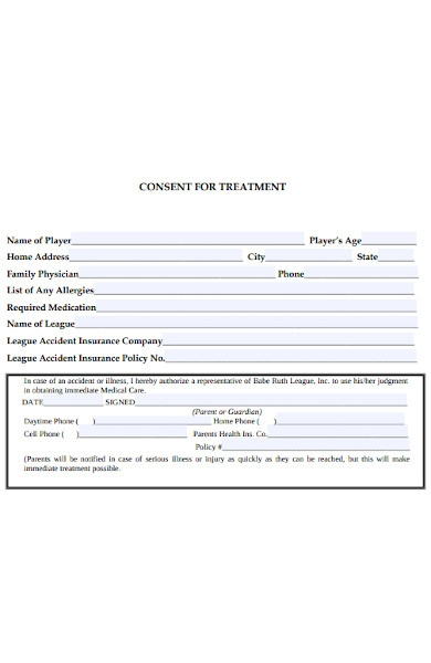 consent form for treatment