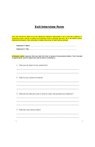 construction exit interview form