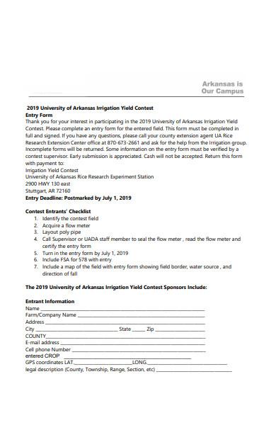 contest entry checklist form