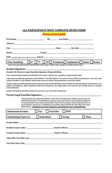 contest participant entry forms