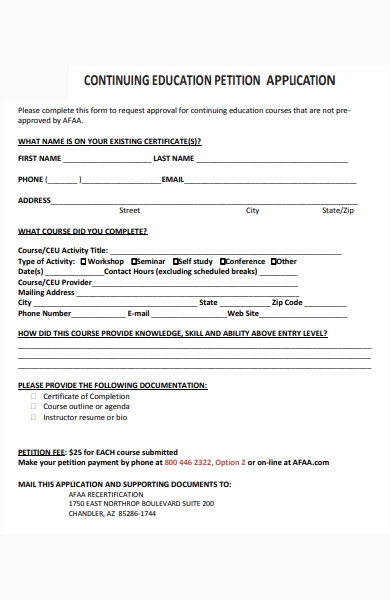 continuing education petition form