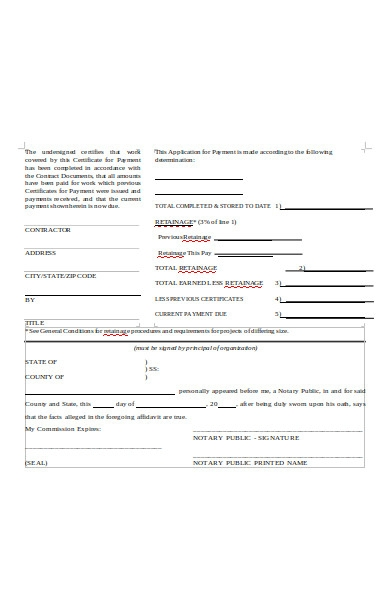 contract application payment form