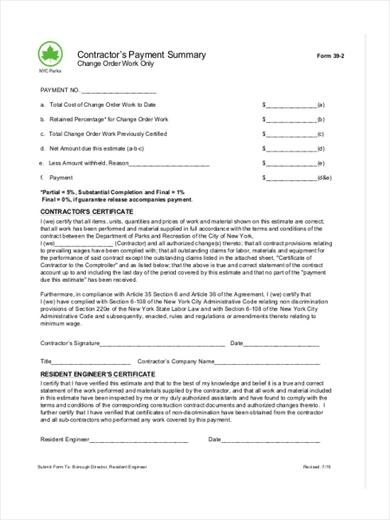 contractor summary estimate form