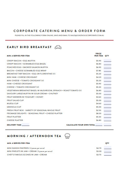 corporate catering order form