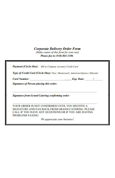 corporate delivery order form