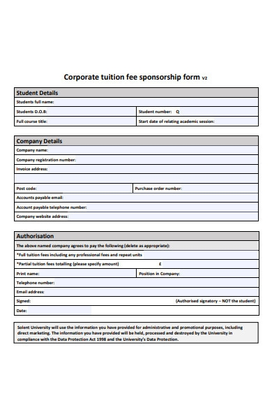 corporate tuition fee sponsorship form
