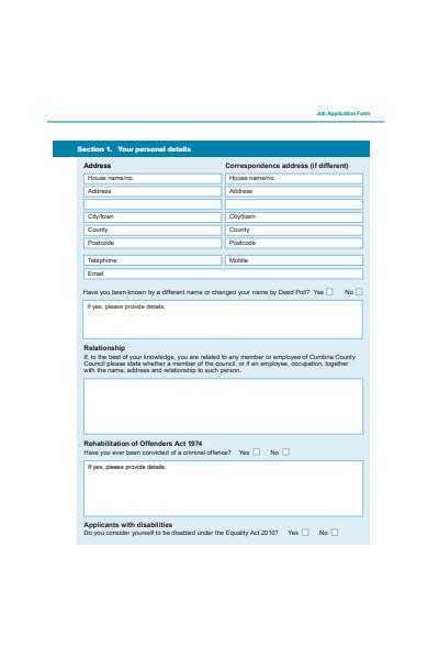 council job application form