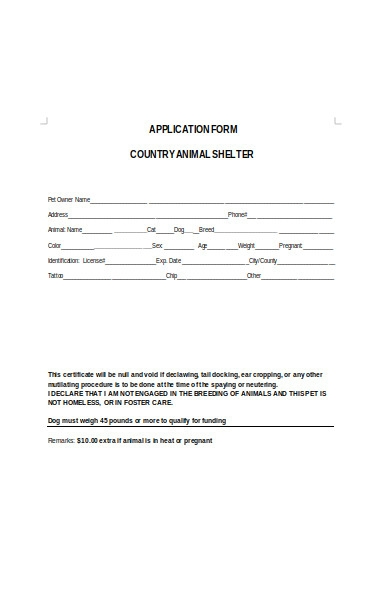 country animal shelter form