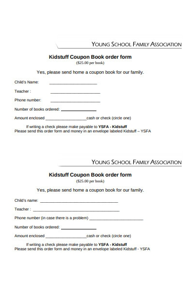 coupon book order form