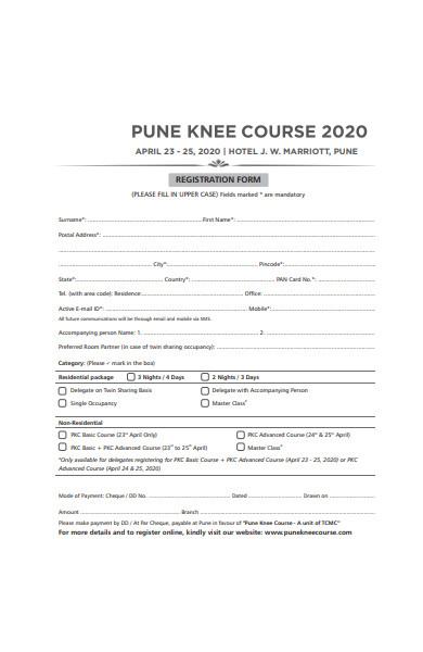 course registration form in pdf