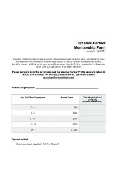 creative partner membership form