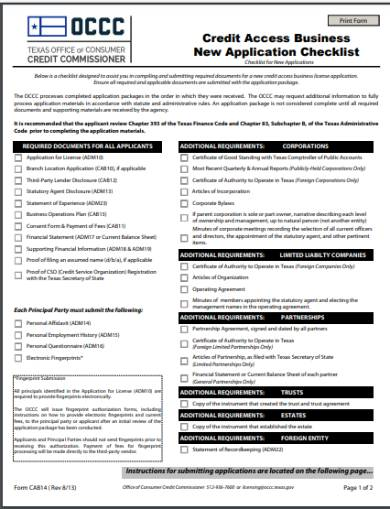credit access business new application checklist