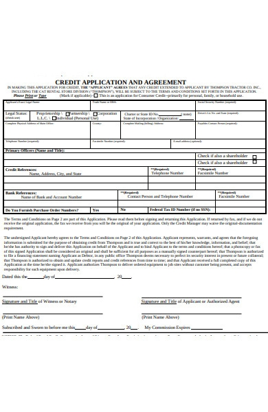 credit application agreement form