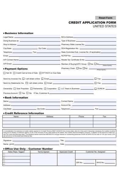 credit application reset form
