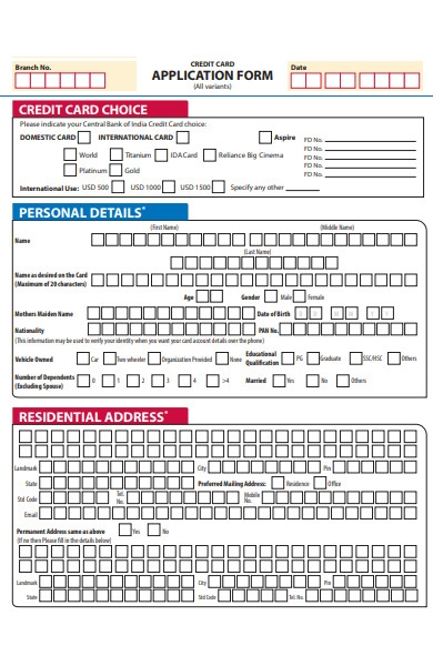 credit card choice application form