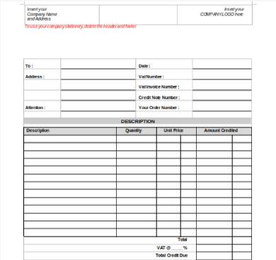 credit note form sample