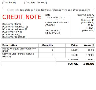 credit note form template