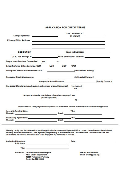 credit terms application form