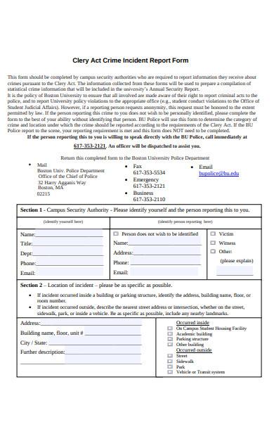 crime incident report form