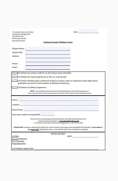 cultural events petition form