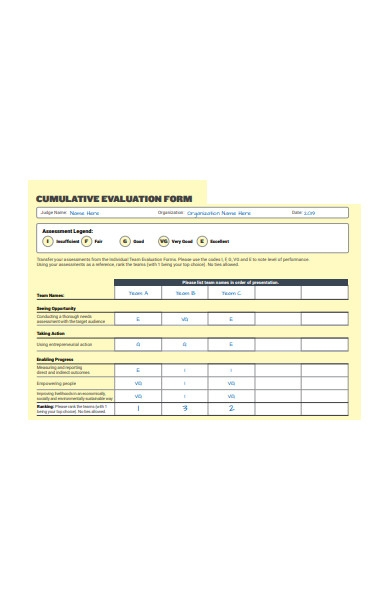 cumulative evaluation form