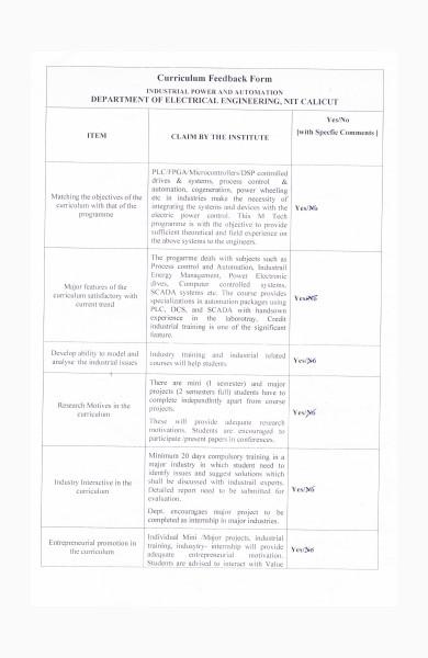 curriculum feedback form