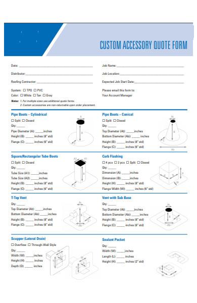 custom accessory quote form