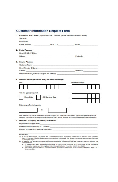 customer information request form