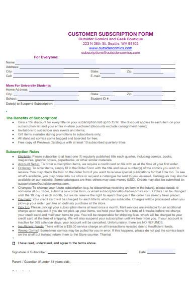 customer subscription form