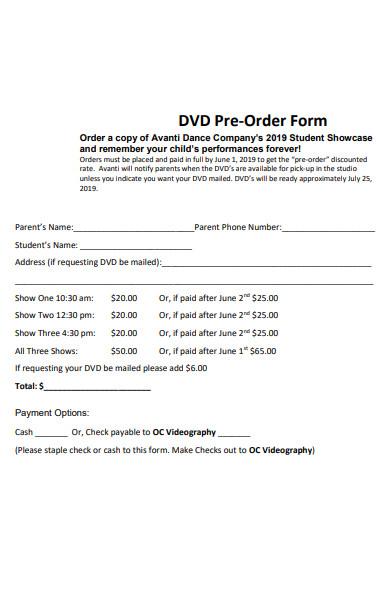 dvd preorder form