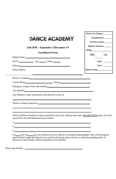 Free 33 Dance Registration Forms In Pdf Ms Word
