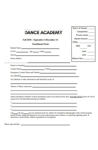 dance academy registration form