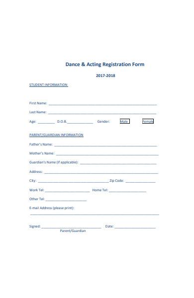 dance acting registration form