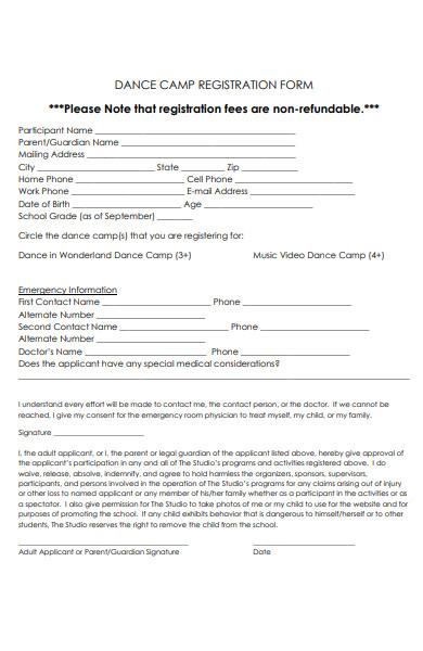 dance camp content form
