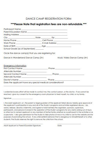 dance camp registration form