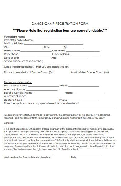 dance camp registration forms