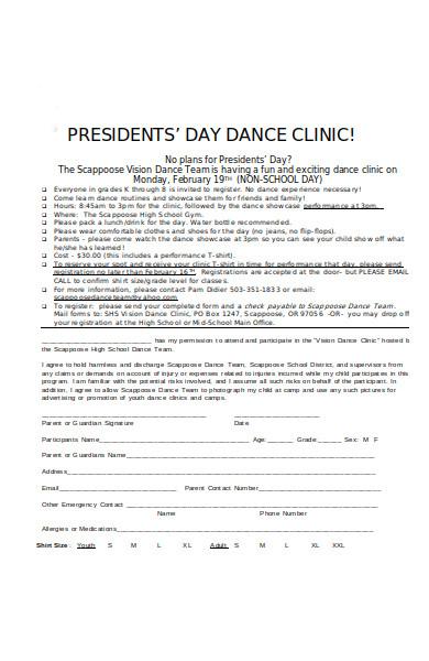 dance clinic registration form