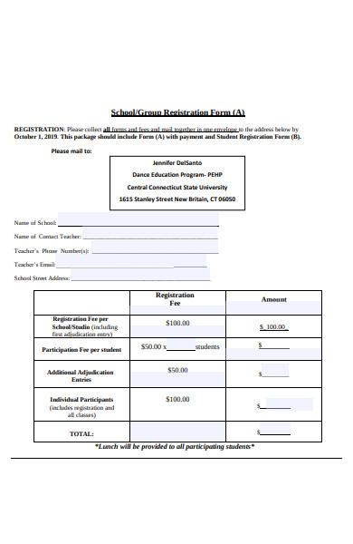 dance festival registration form