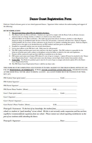 dance guest registration form