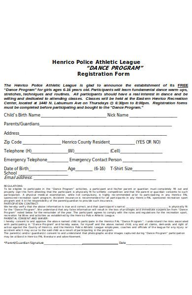 dance registration program form